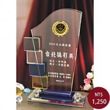C035-S1水晶獎盃(貼金箔印LOGO)