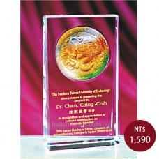 C907-C水晶琉璃獎牌-祥龍獻瑞